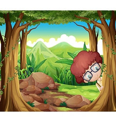 A boy hiding at the forest vector