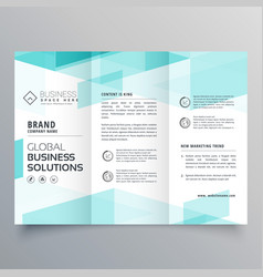 Abstract blue tri fold brochure design template vector