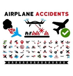 Aircraft Accidents Icons vector