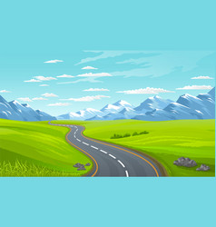Asphalt road at green meadow with mountains and vector