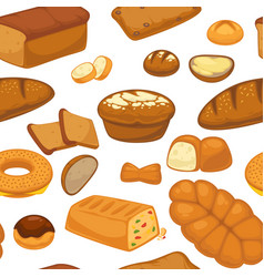 bakery products buns and bread seamless pattern vector image
