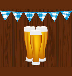 beer and flags for the oktoberfest festival vector image