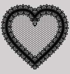 black lace heart ornate element for design of vector image