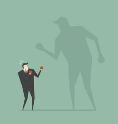 businessman fighting his shadow vector image