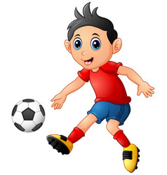 cartoon boy playing football vector image