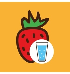 cartoon cup glass water with vector image