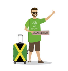 Cartoon happy male with sign anywhere catching vector