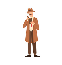 Cartoon professional man detective with mustache vector