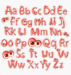 cartoon red alphabet with eyes vector image