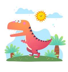 cartoon tyrannosaurus rex dinosaur vector image