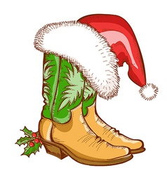 Christmas Cowboy boots and Santa hat vector image