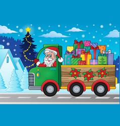 Christmas truck theme image 2 vector