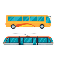city bus and electric tram vector image