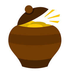 Clay pot full of gold coins icon isolated vector