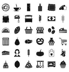 Cook icons set simple style vector