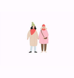 couple girls in warm clothes flat winter season vector image