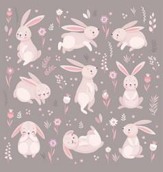 cute rabbits sleeping running sitting lovely vector image