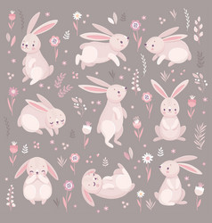cute rabbits sleeping runnung sitting lovely vector image