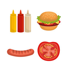 delicious picnic set icons vector image