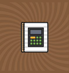 Document calculator icon simple line cartoon vector