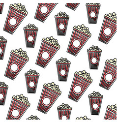 Doodle delicious snack popcorn food background vector