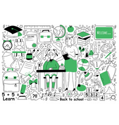 education doodle set vector image