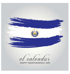 el salvador independence day flag painted with a vector image