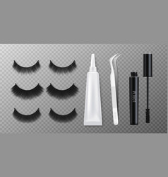 False eyelashes kit with clue realistic mockup vector