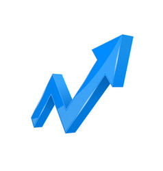 Financial indication arrow up blue shiny 3d graph vector