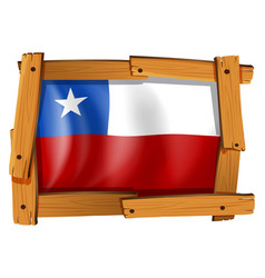 flag of chile in wooden frame vector image