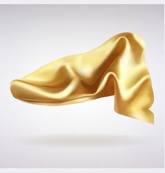 Folds gold satin fabric vector