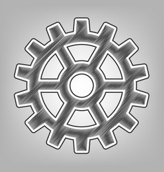 gear sign pencil sketch imitation dark vector image