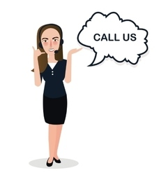 Girl call us center standing support vector