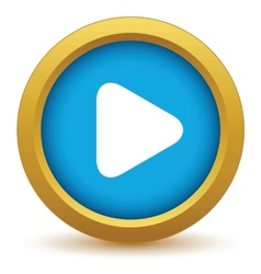 Gold play icon vector
