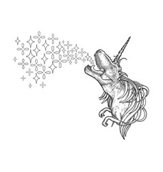 graphic tyrannosaurus with unicorn horn and mane vector image