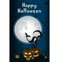 Halloween black cat on moon background vector