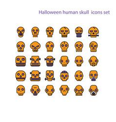 Halloween human skull iconghost or monster vector