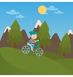 Happy Boy Riding Bicycle in Mountains vector