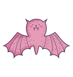 happy halloween celebration pink bat with open vector image