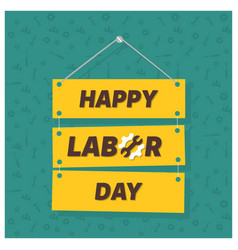 Happy labor day on green patterened background vector