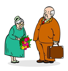 Happy seniors couple Old man with a bouquet vector image