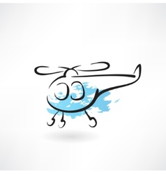 helicopter grunge icon vector image