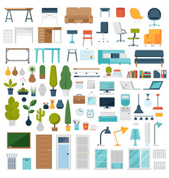 Home and office interior elements vector