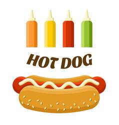 hot dog street food set colorful image vector image