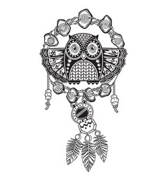 Indian dream catcher with ethnic ornaments and owl vector