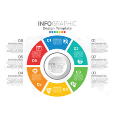infographic template design with 6 color options vector image