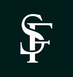 Initial letter sf logo template with overlap vinta vector