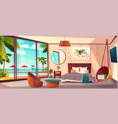 Interior of hotel bedroom summer resort vector