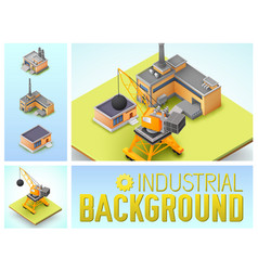 Isometric industrial area colorful composition vector
