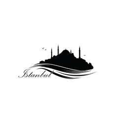 istanbul city skyline with famous turkish travel vector image